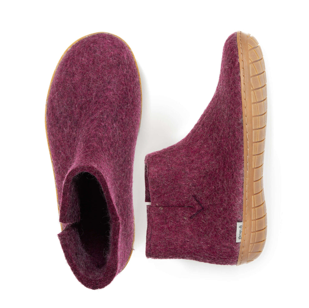 Glerups Boots with rubber soles - cranberry - GR-07-00
