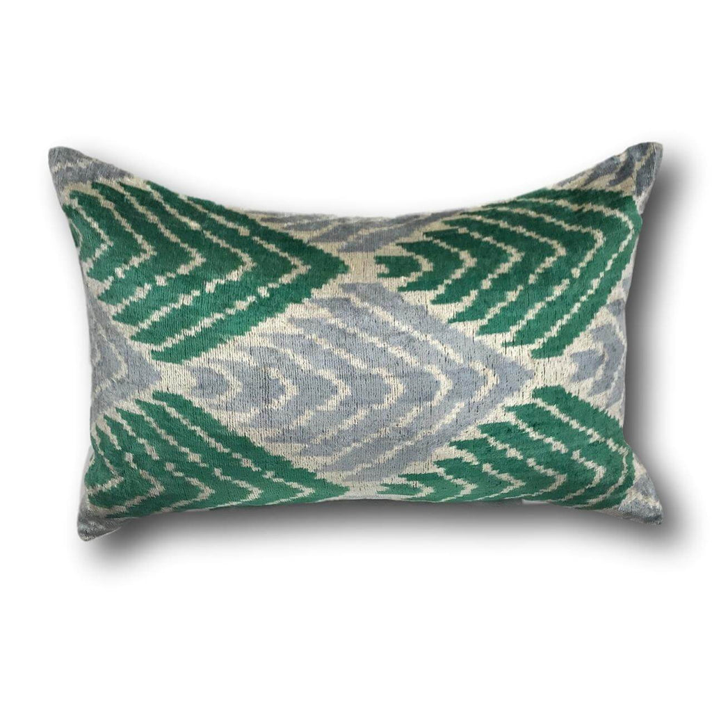 Green Velvet IKAT cushion cover - 40 x 60 cm