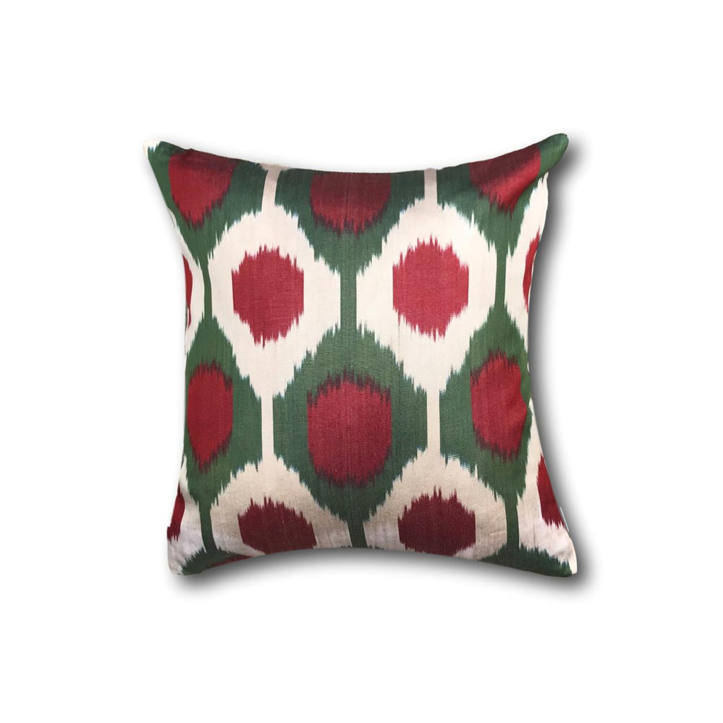 IKAT cushion cover - Red and Green Dots- 40 x 40 cm
