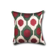 IKAT cushion cover - Red and Green - 40 x 40 cm