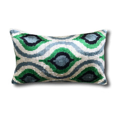IKAT cushion cover - Green Grey - Velvet - 30 x 50 cm
