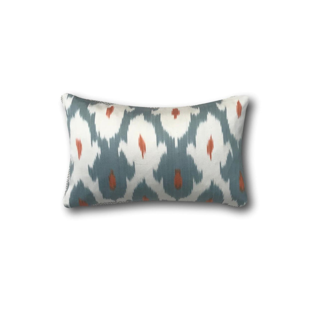 IKAT cushion cover -Greyish Blue and Orange double sided small-  25 x 40 cm