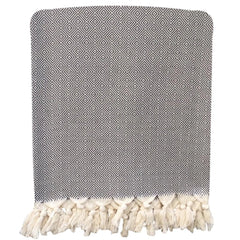 Handwoven Diamond Blanket - Dark Grey