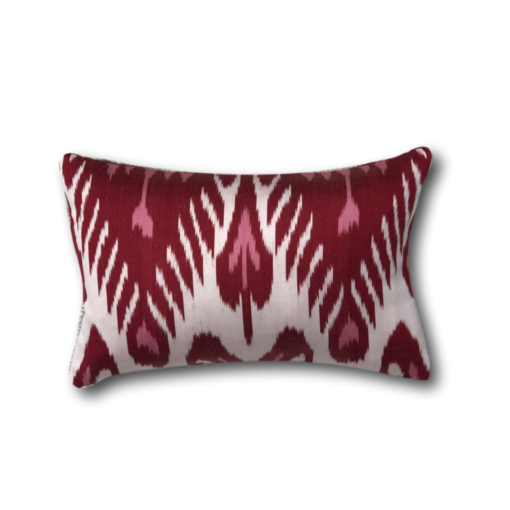 IKAT cushion cover - pink and red - double sided small - 25 x 40 cm