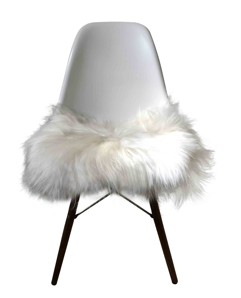 Sheepskin Seat Pad - Icelandic Long Wool - Natural White