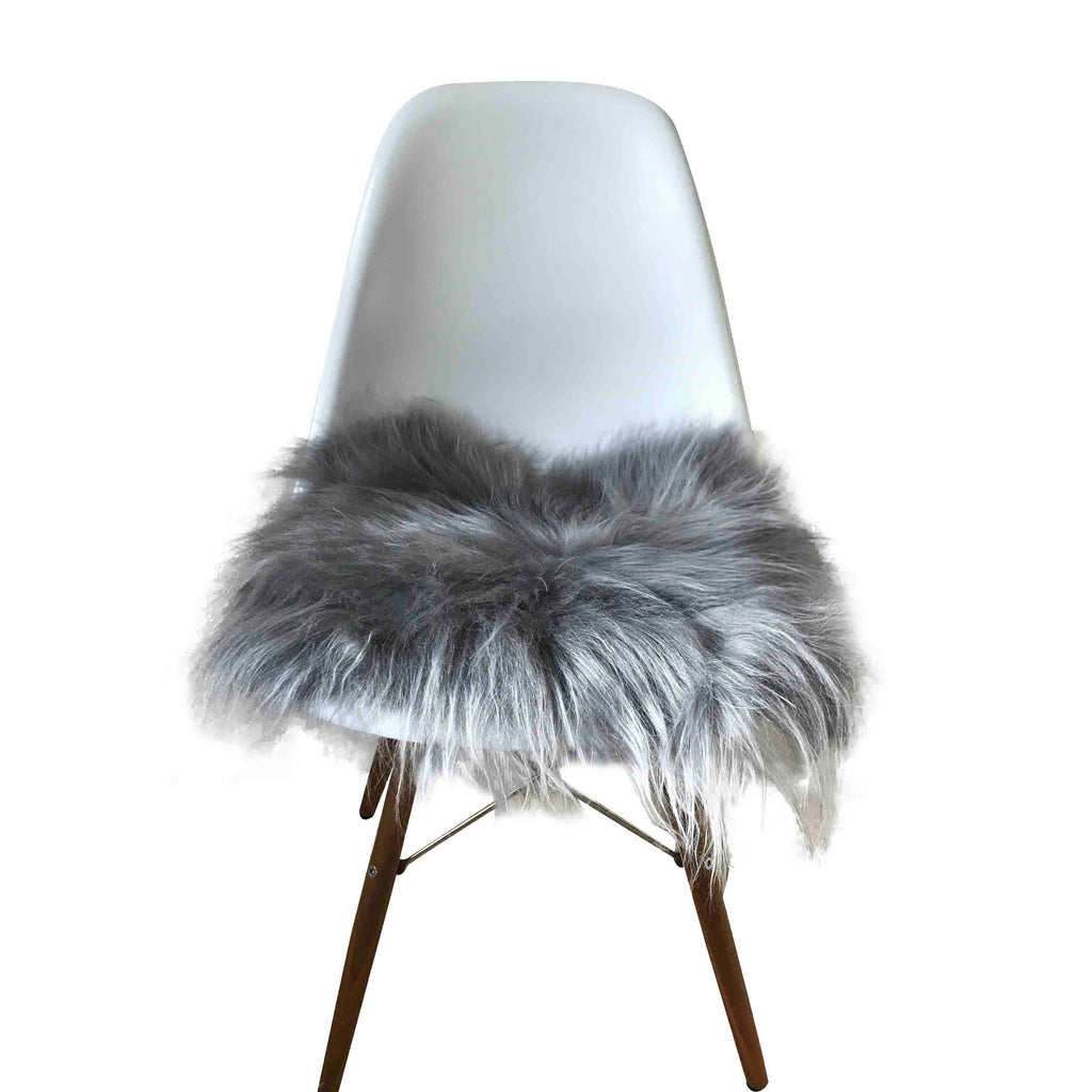 Sheepskin Seat Pad - Icelandic Long Wool - Grey