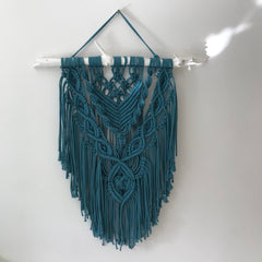 Boho Macrame Wall Hanging - Recycled Yarn - Medium - Blue