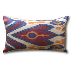 IKAT cushion cover - Double Sided- Red, Orange and Blue Kilim 35 x 60 cm
