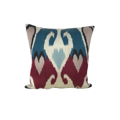 IKAT cushion cover - Blue and Pink Hearts- 40 x 40 cm