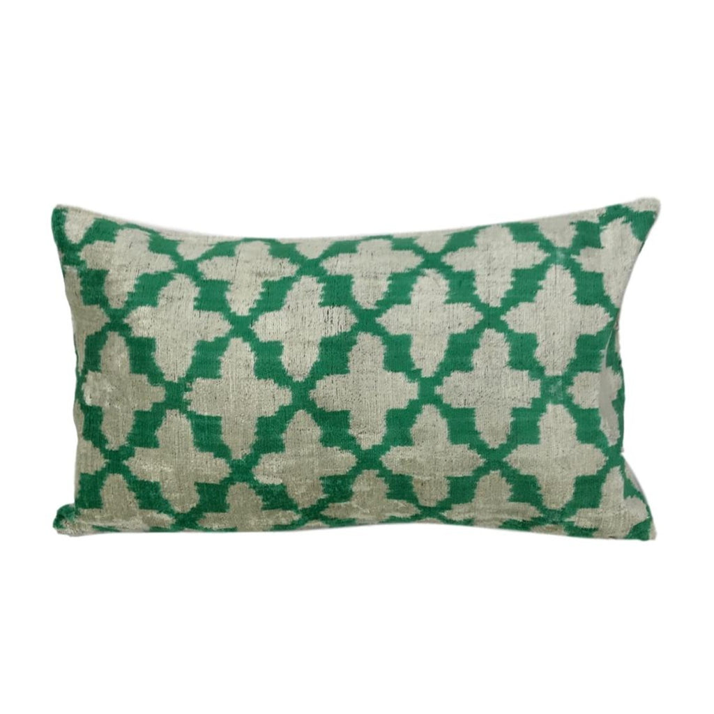 IKAT cushion cover - Green Velvet Cross- 30 x 50 cm