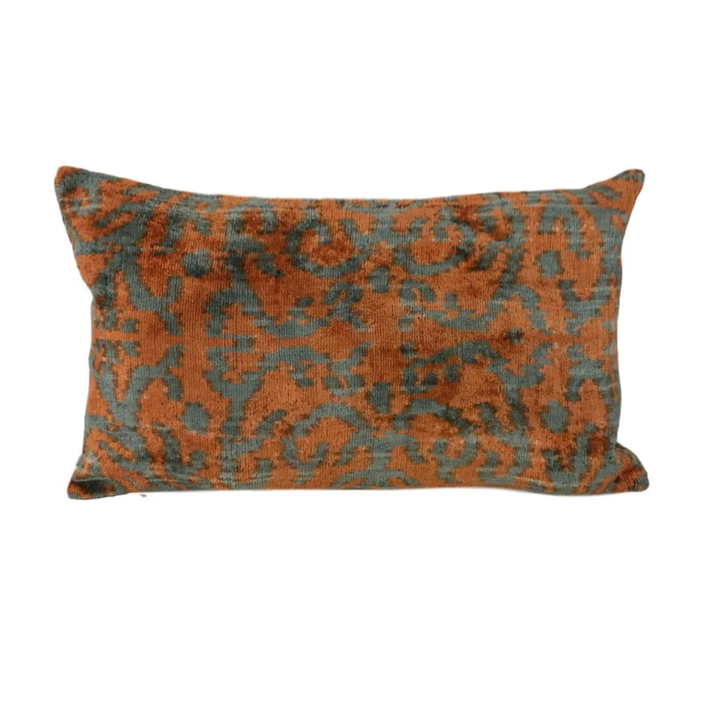 IKAT cushion cover - Orange - Velvet - 30 x 50 cm