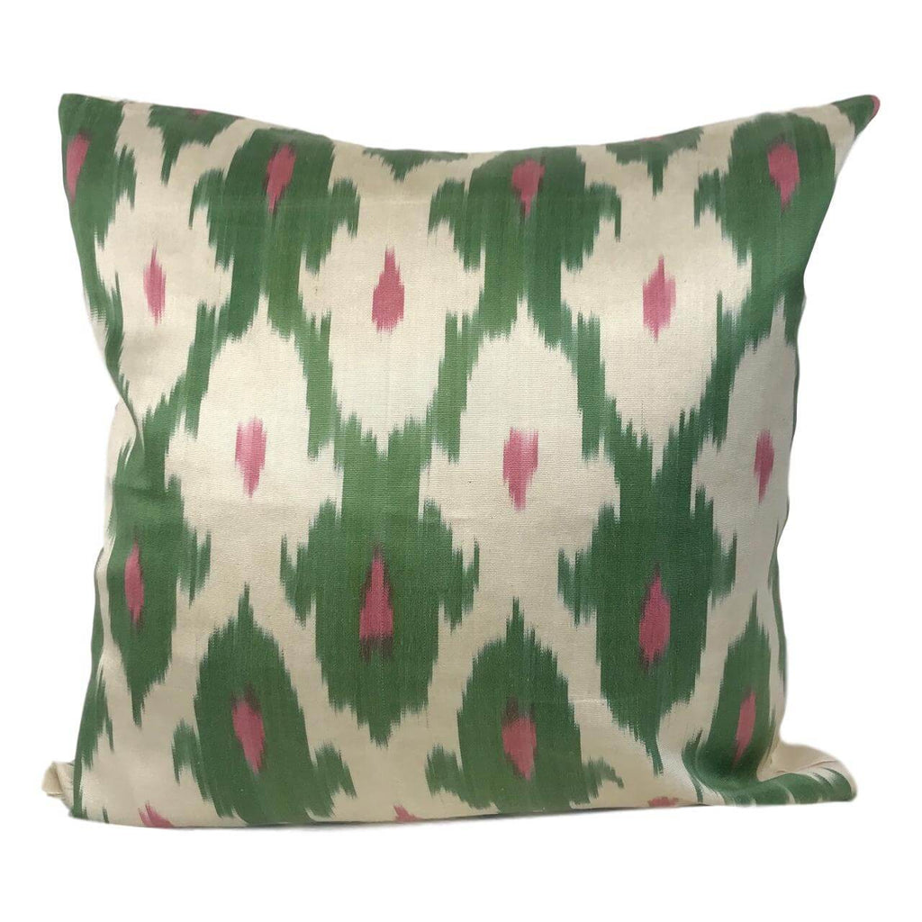 IKAT cushion cover - Green and Pink - 50 x 50 cm