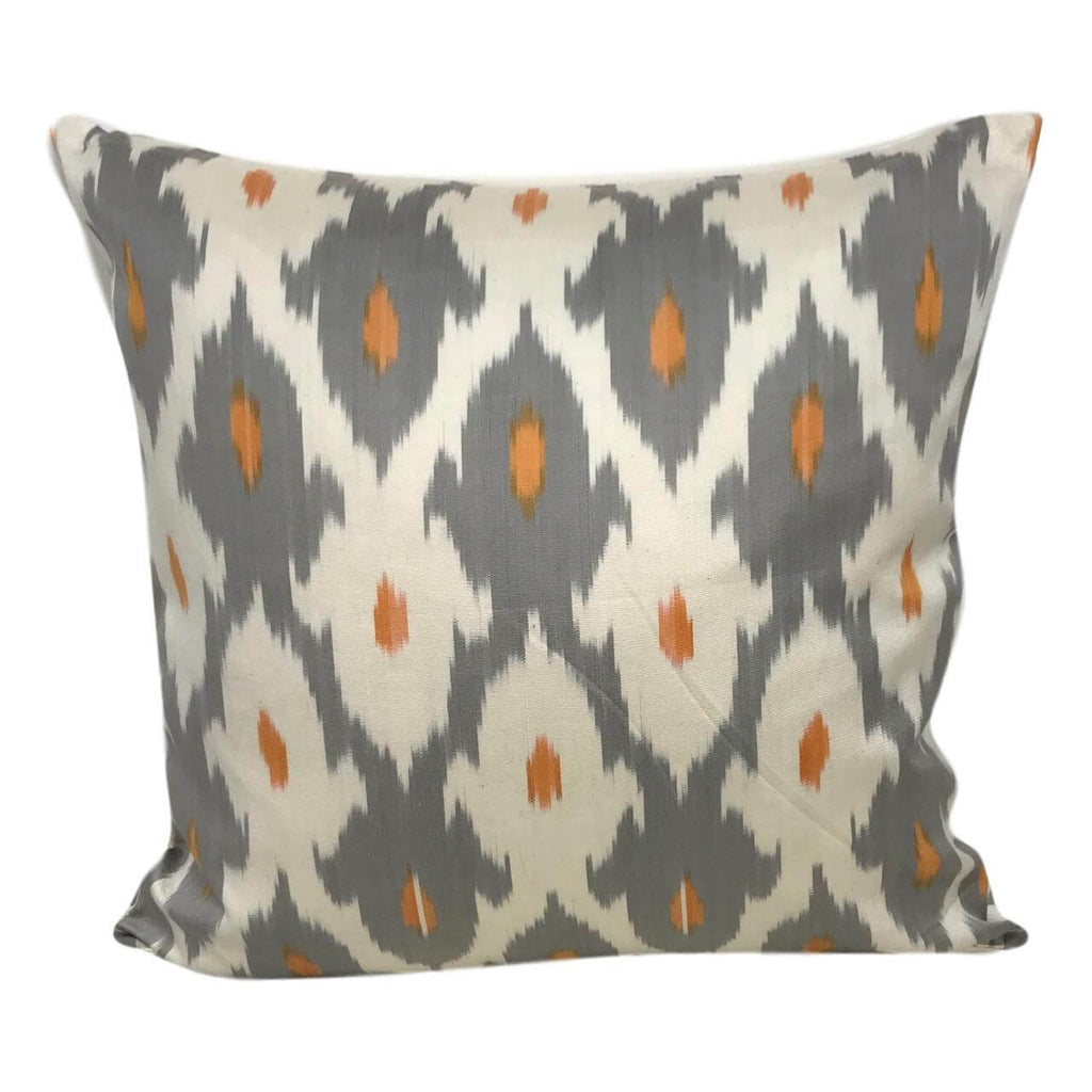 IKAT cushion cover - Grey and Orange - 50 x 50 cm