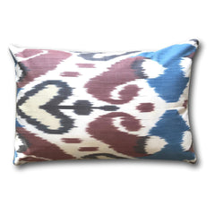 IKAT cushion cover - Double Sided- Blue and Brown Hearts 40 x 60 cm