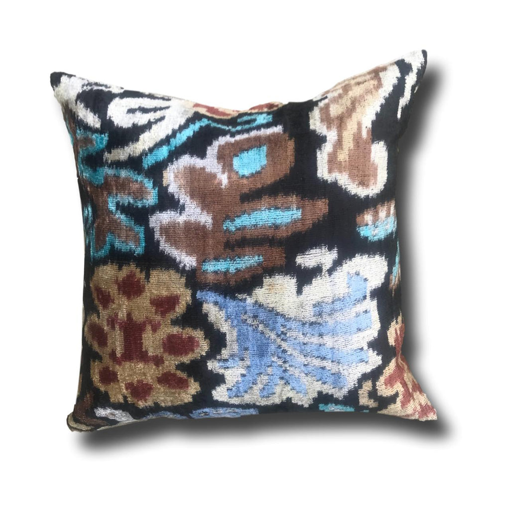 IKAT cushion cover - Multi colour- Velvet and Ikat -  50 x 50 cm