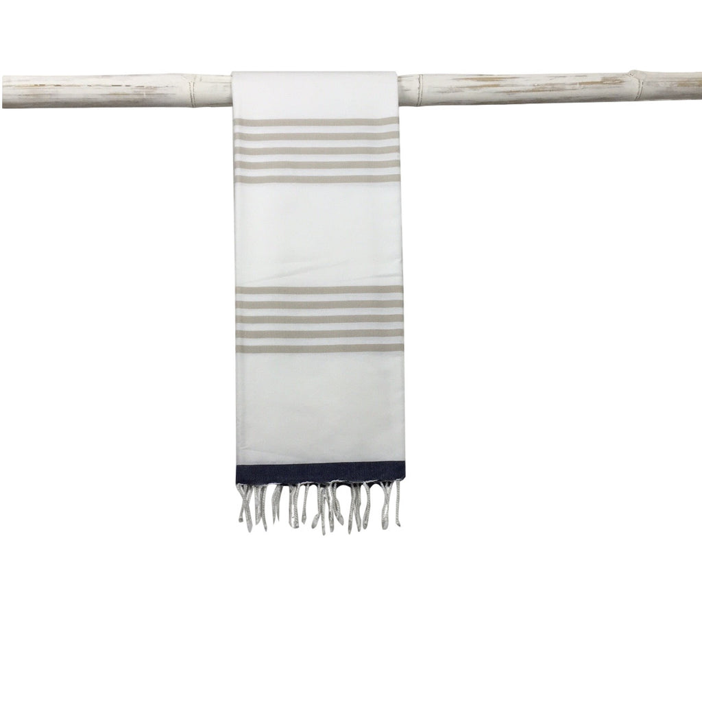 Ocean Hammam Towel - Beige/Navy - my little wish  - 1