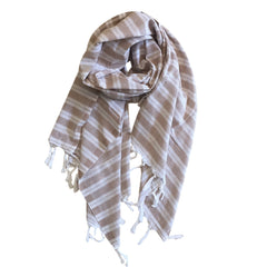 Pastel Striped Cotton Scarves - Brown - my little wish