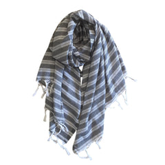 Pastel Striped Cotton Scarves - Black - my little wish
