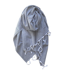 Thin Striped Cotton Scarf - Black - my little wish