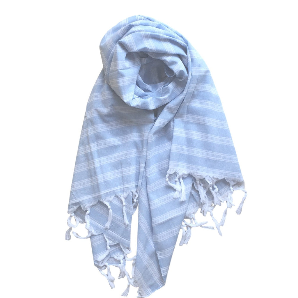 Pastel Striped Cotton Scarves - Blue - my little wish