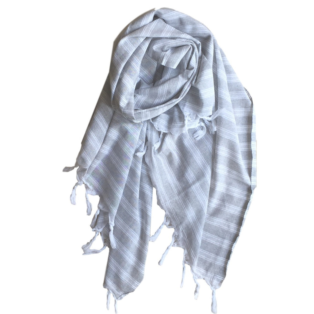 Pastel Striped Cotton Scarves - Grey - my little wish
