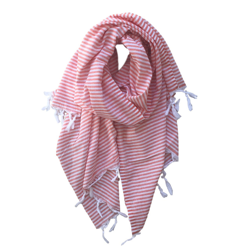 Thin Striped Cotton Scarves - Orange - my little wish