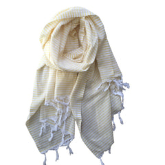 Thin Striped Cotton Scarf - Yellow - my little wish
