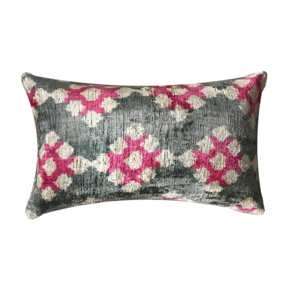 IKAT cushion cover - Pink - Velvet - 30 x 50 cm