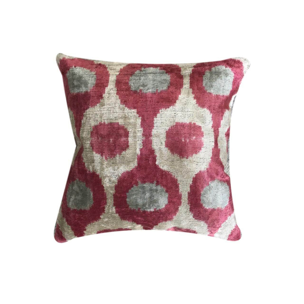 Pink Velvet Double Sided Ikat Cushion