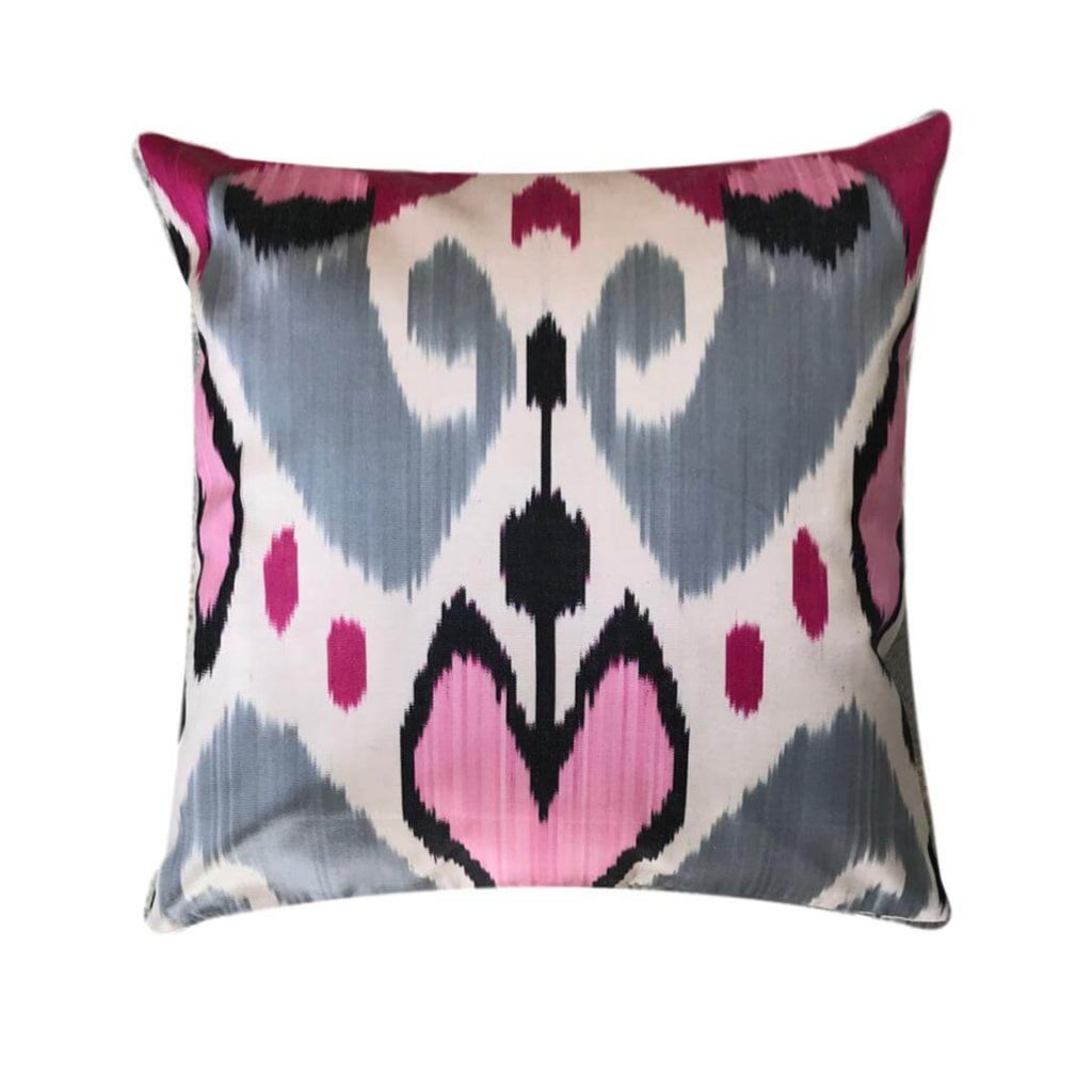 IKAT cushion cover - Pink and Grey Hearts - 40 x 40 cm