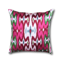 IKAT cushion cover - Bright Pink and Green 50 x 50 cm