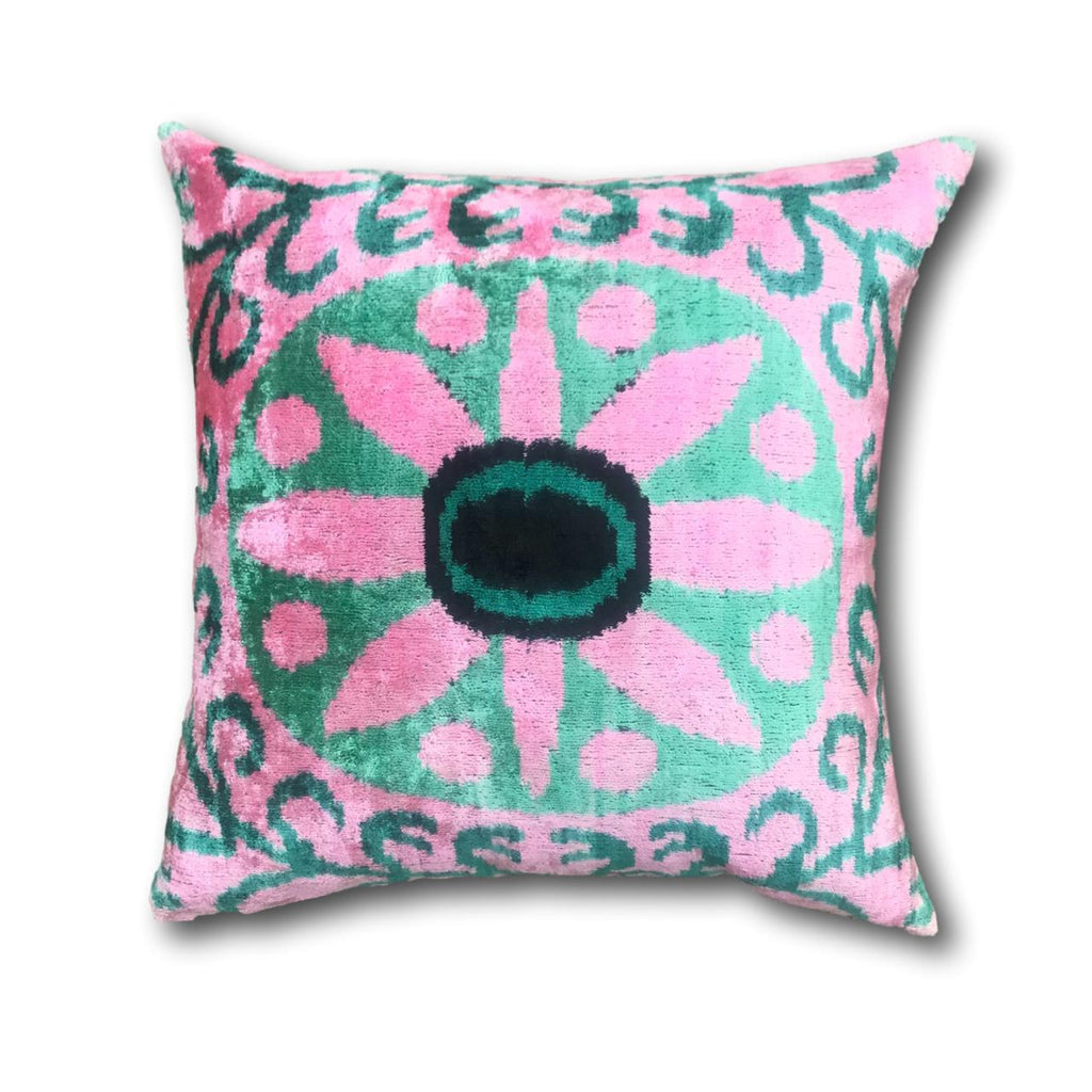 IKAT cushion cover - Pink and green flower- Velvet -  50 x 50 cm