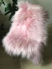 Icelandic Long Wool Sheepskin Rug - Pink