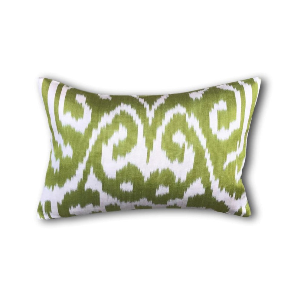 IKAT cushion cover -Pistachio Green double sided small- 25 x 40 cm