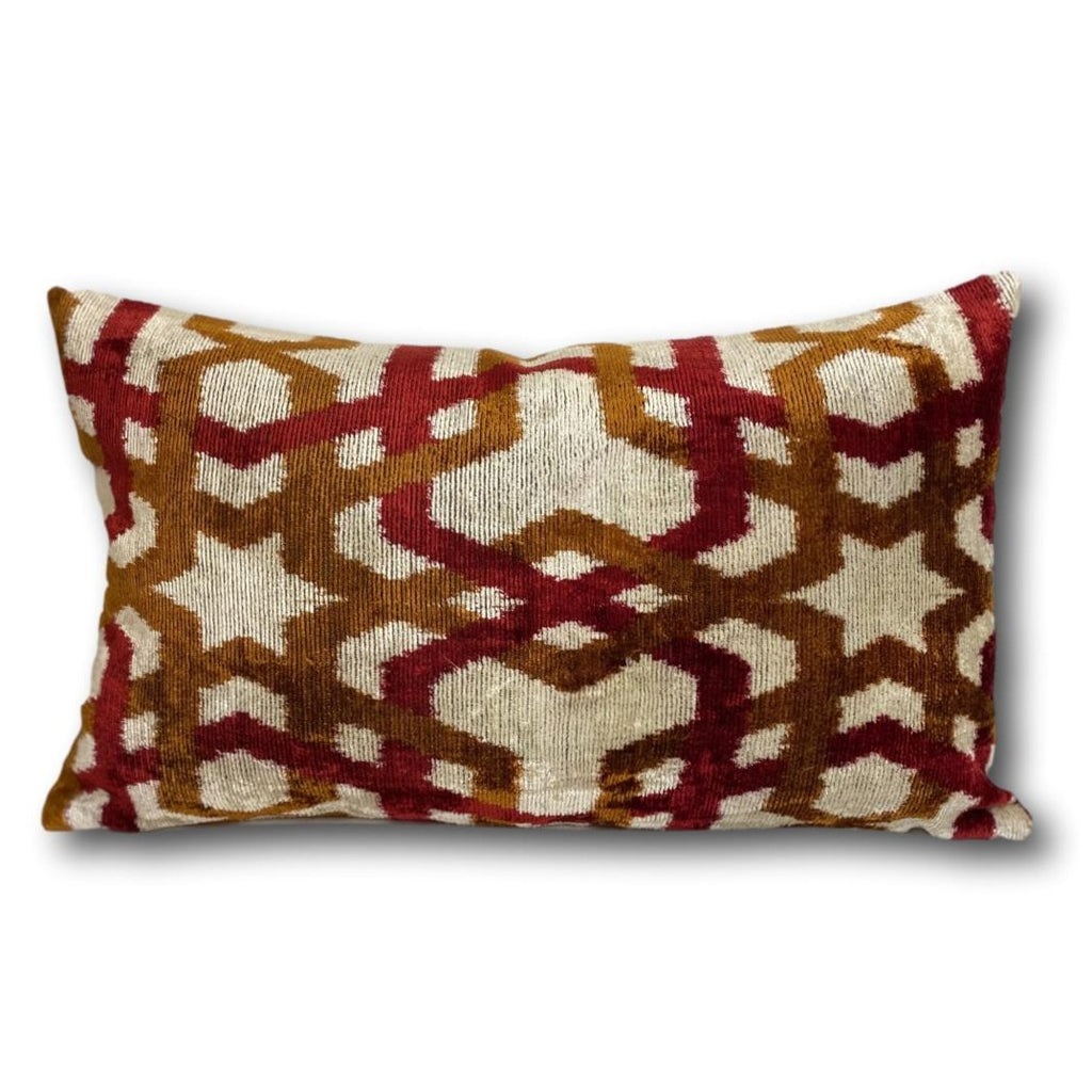 Red and Rust Trellis Velvet cushion cover - 30 x 50 cm