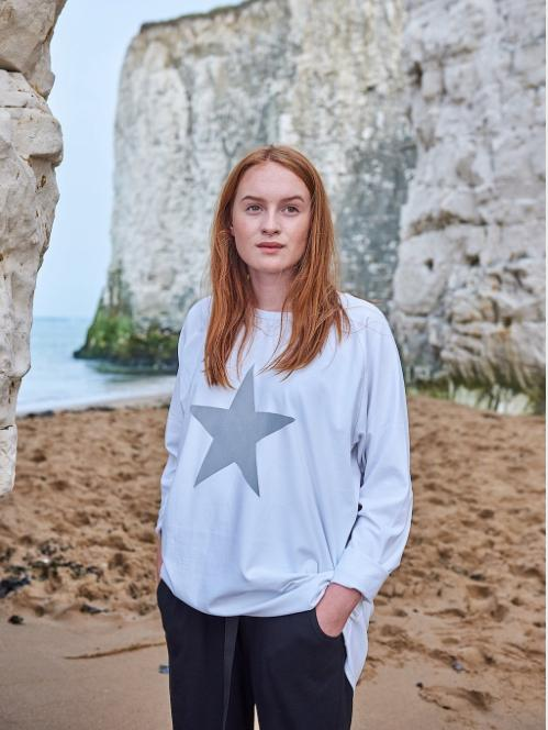 Oversized Cotton T-Shirt - Grey Star