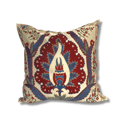Authentic Suzani silk hand embroidery cushion cover - red & blue (SU79)