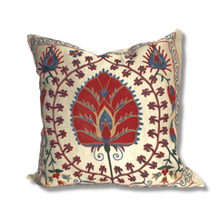 Authentic Suzani silk hand embroidery cushion cover - red & blue (SU80)