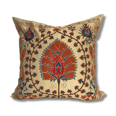 Authentic Suzani silk hand embroidery cushion cover - red & blue (SU81)