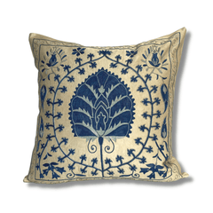 Authentic Suzani silk hand embroidery cushion cover - blue (SU82)