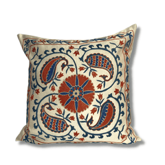 Authentic Suzani silk hand embroidery cushion cover - red & blue (SU84)