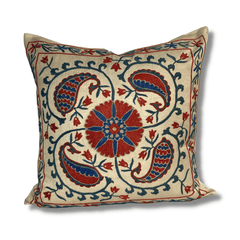 Authentic Suzani silk hand embroidery cushion cover - red & blue (SU85)