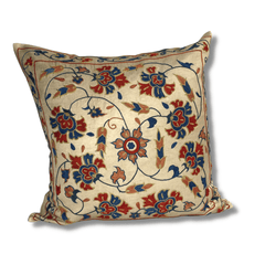 Authentic Suzani silk hand embroidery cushion cover - red & blue (SU86)