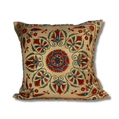 Authentic Suzani silk hand embroidery cushion cover - red & blue (SU87)