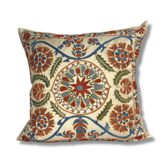 Authentic Suzani silk hand embroidery cushion cover - red & blue (SU88)