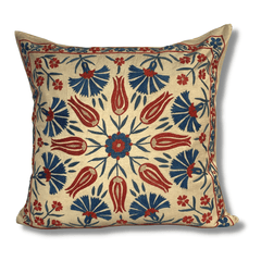Authentic Suzani silk hand embroidery cushion cover - red & blue (SU89)