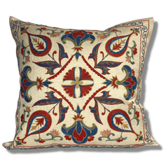 Authentic Suzani silk hand embroidery cushion cover - red & blue (SU90)