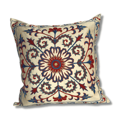 Authentic Suzani silk hand embroidery cushion cover - red & blue (SU91)