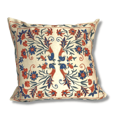 Authentic Suzani silk hand embroidery cushion cover - red & blue (SU92)