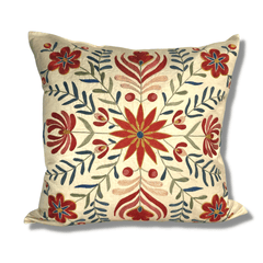 Authentic Suzani silk hand embroidery cushion cover - red & blue (SU93)